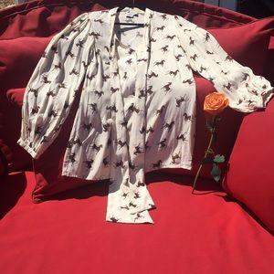 ASOS Button Down Luxe Horse Blouse Size US 4